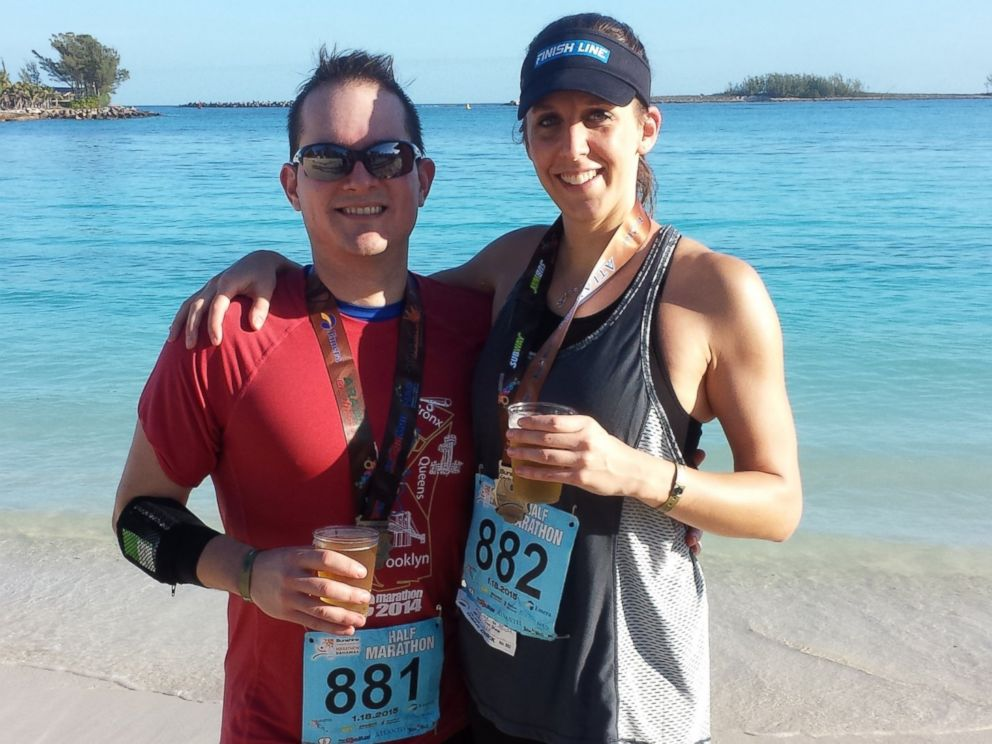 PHOTO: Alexander Salazar and Krissa Cetner after a half marathon in the Bahamas on Jan. 18, 2015.