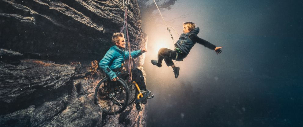 PHOTO: Photographer Benjamin Von Wong captured paralyzed mother Sarah Jane Staszak dangling off a cliff in Australia with her son, Hamish.