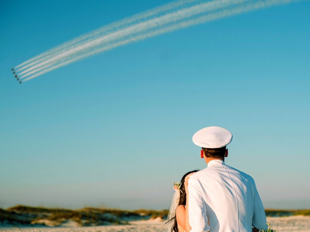 PHOTO: Rachel and Chandler Mills were surprised by a Blue Angels flyover at their wedding in Pensacola, Florida.