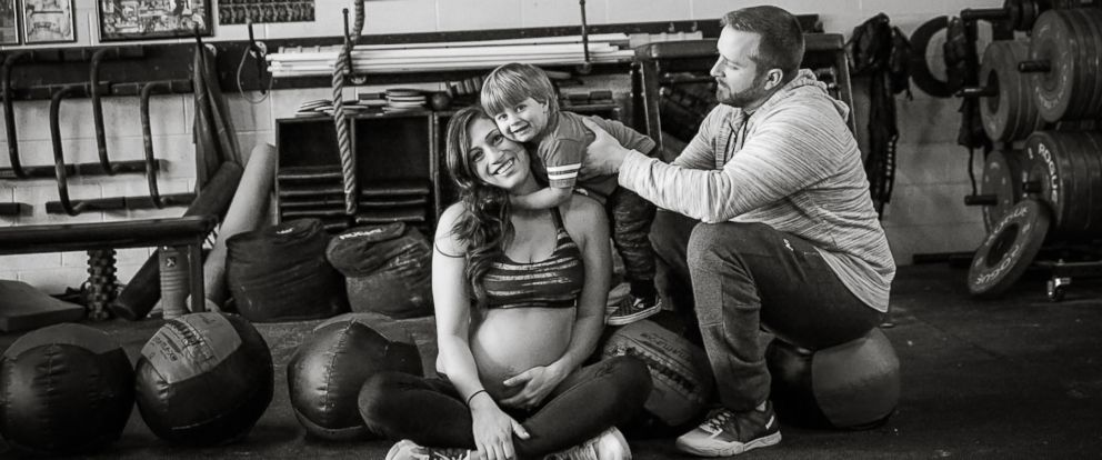 PHOTO: Lauren Ferris poses with son, Connor, and husband, Garrett, during her CrossFit maternity shoot.