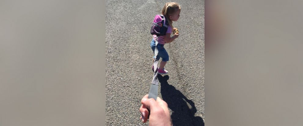 PHOTO: Clint Edwards, 34, of Oregon, shared a Facebook post on May 27, on why he keeps his 3-year-old daughter Aspen on a leash in crowded places.