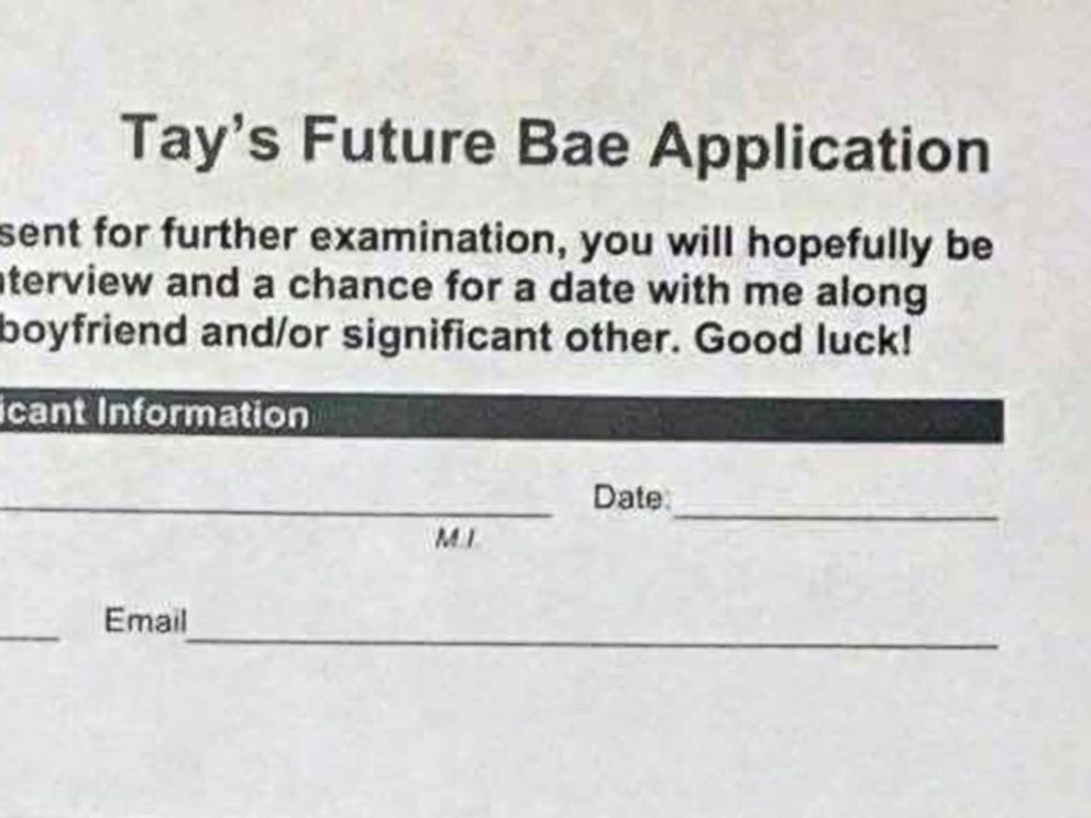 PHOTO: Taylor Sele created an in-depth dating application for a potential boyfriend.
