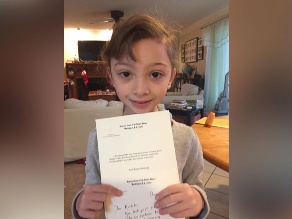 PHOTO: Michele Threefoot, 8, received a handwritten letter from Supreme Court Justice Ruth Bader Ginsburg after dressing as Ginsburg for superhero day at her elementary school.