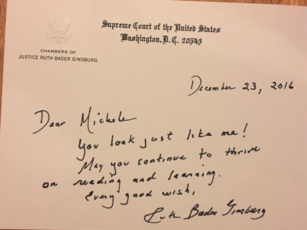 PHOTO Michele Threefoot 8 Received A Handwritten Letter From Supreme Court Justice Ruth