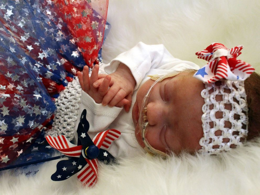 PHOTO: The preemies in the neonatal intensive care unit at the University of Cincinnati Medical Center wore red, white and blue to celebrate the 4th of July.