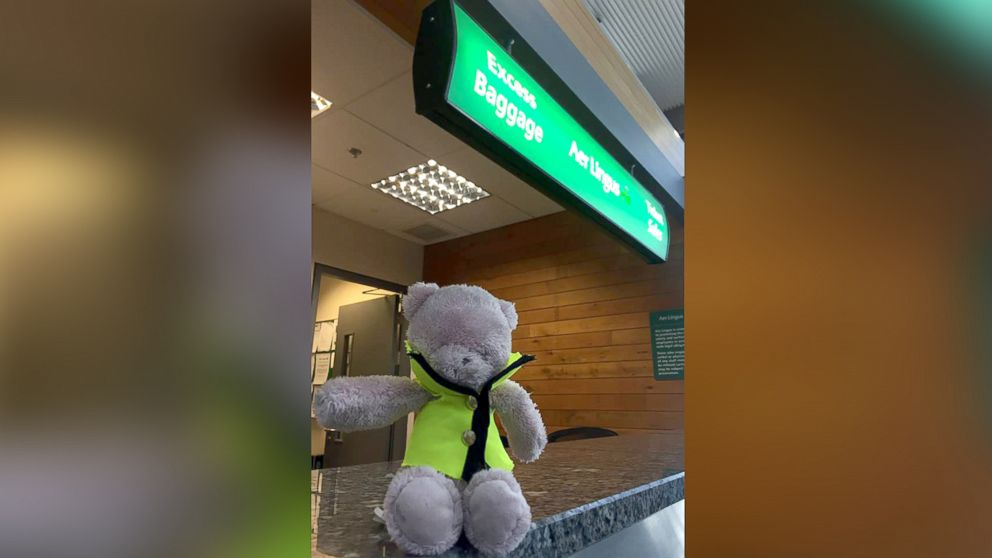 The internet is trying to help reunite this pink teddy bear, lost at an Ireland airport, with its owner.