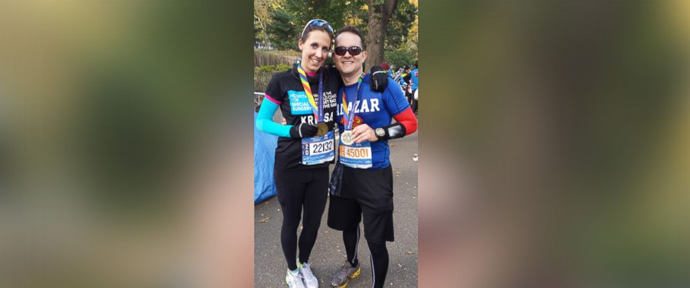 PHOTO: Krissa Cetner and Alexander Salazar after the New York City Marathon on November 2, 2014.