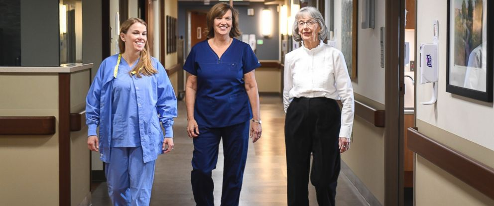 PHOTO: Left to right; Christina Harms, 31, Sue Hoekstra, 56, and Mary Lou Wilkins, 86, are photographed at Spectrum Health in Grand Rapids, Michigan.