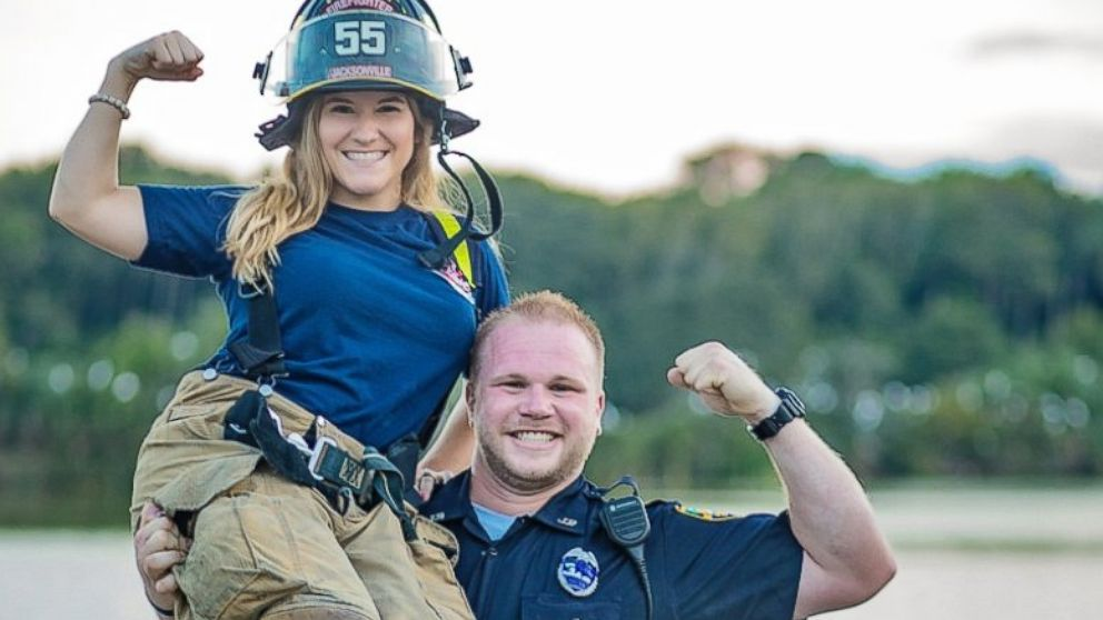 Mirza Crnolic, 31, a police officer with the Jacksonville Sheriff's Office in Jacksonville, Florida, seen with his wife, Caroline Crnolic, 27, a firefighter for the Jacksonville Fire and Rescue Department, in an undated engagement photo.