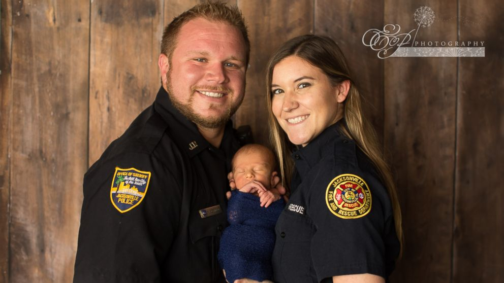 Baby Enzo's mom, Caroline Crnolic, 27, is a firefighter for the Jacksonville Fire and Rescue Department and dad Mirza Crnolic is a police officer with the Jacksonville Sheriff's Office in Jacksonville, Fla.