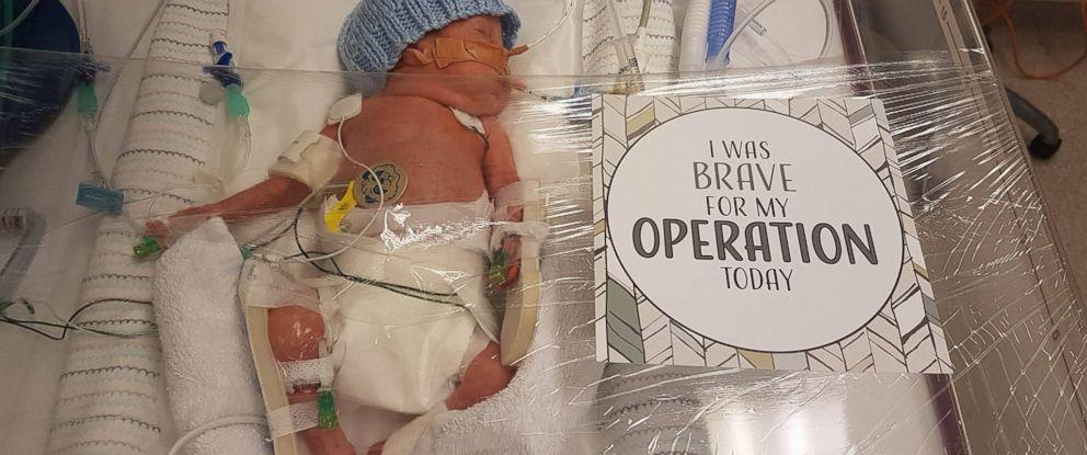 PHOTO: Miracle Mumma, based in Australia, creates milestone cards unique to the accomplishments of premature babies.