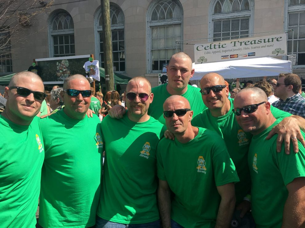 PHOTO: Members of the Richmond Fire Department shaved their heads for charity in support of a fellow firemans toddler, Caleb Lambert , who is fighting cancer.