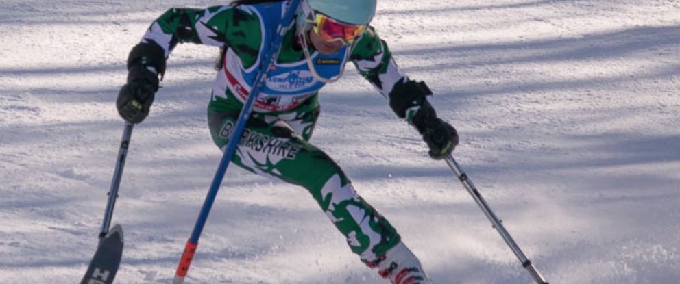 PHOTO: Insha Afsar, a 16-year-old from Pakistan, races down the mountain at Winter Park on a single ski.