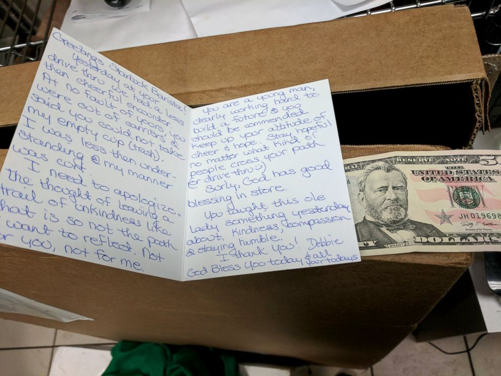 Customer returns to Starbucks with apology note and $50 after rude ...