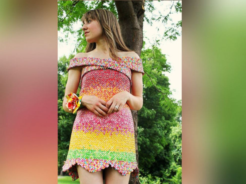 PHOTO: Emily Seilhamer spent five years making this dress out of more than 10,000 Starburst wrappers.