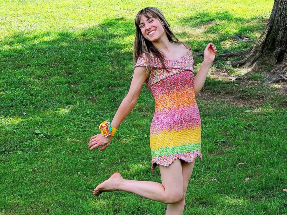 woman makes dress out of more than 10 000 starburst candy wrappers