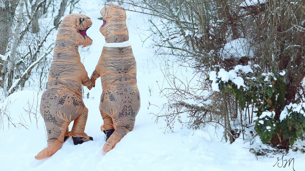 "These photographers wanted to prove ""love isn't extinct"" with their T-Rex engagement photo shoot."