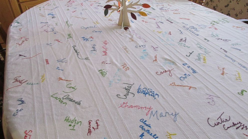 Familys Thanksgiving Tablecloth Has 16 Years Of Signatures Abc News - Thanksgiving-table-cloth