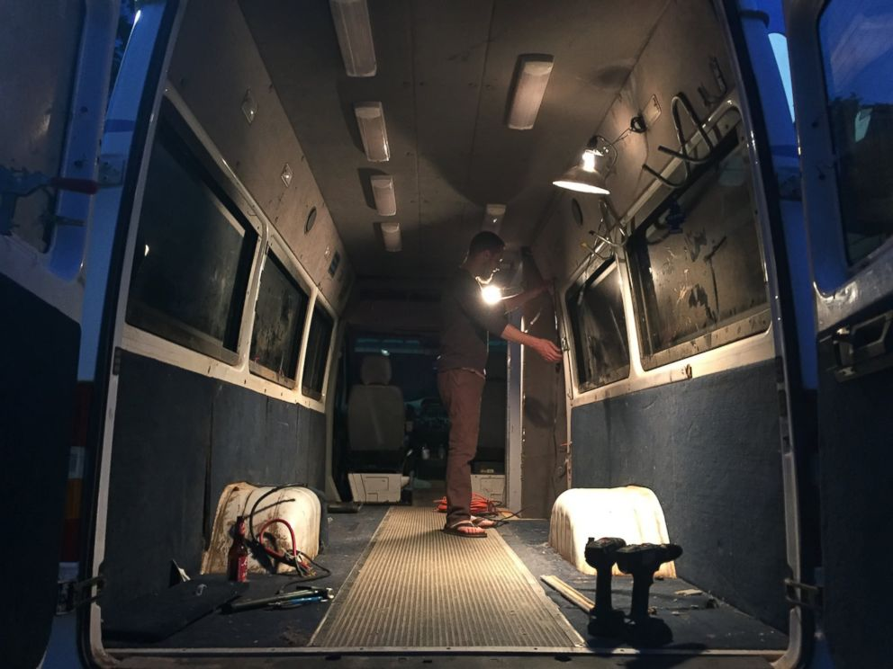 PHOTO: The van, which the couple bought for $4,500, has about 80 square feet of space on the inside.