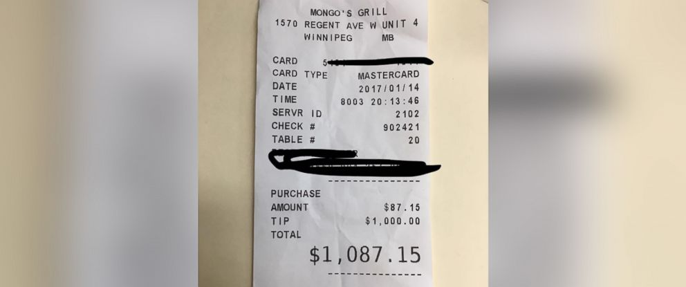 PHOTO: Jennifer Peitsch, 20, received a $1,000 tip on a bill of $87.15 while waitressing at Mongos Grill in Winnipeg, Manitoba, Canada, on Jan. 14, 2017.