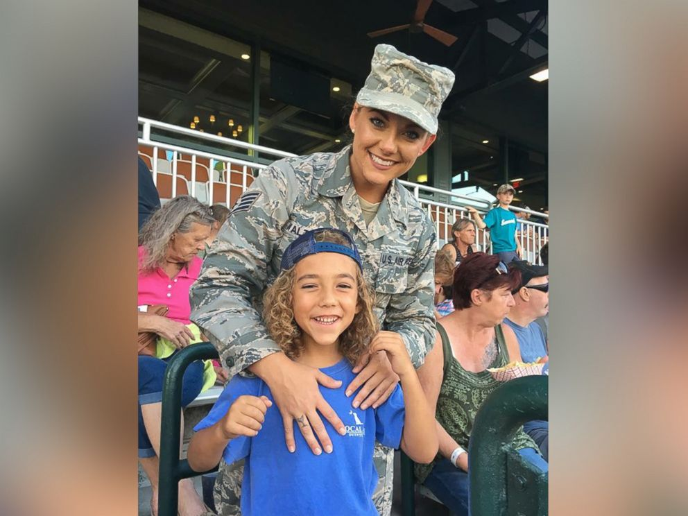 PHOTO: Air Force Staff Sgt. Georgina Walton surprised her son Brody home from deployment at the Charleston RiverDogs game.