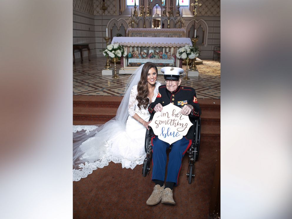 PHOTO: Alison Ferrells 92-year-old uncle, Bill Lee Eblen, served as her something blue in his Marine dress blues at her May 13 wedding.