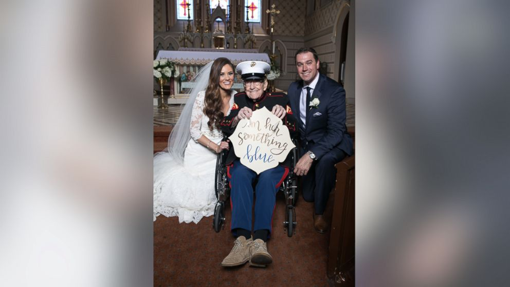 "Alison Ferrell's 92-year-old uncle, Bill Lee Eblen, served as her ""something blue"" in his Marine dress blues at her May 13 wedding."