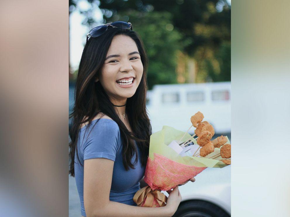PHOTO: Rico Villanueva, 19, gave his girlfriend Annika Aguinaldo, 19, a bouquet of chicken nuggets because she hates flowers