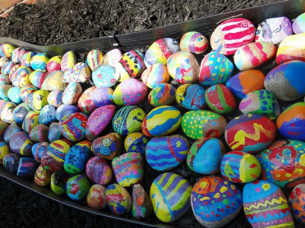 PHOTO: Art teacher Jessica Moyes tasked 740 students to paint a rock any way they wanted. What resulted was a project going viral online.