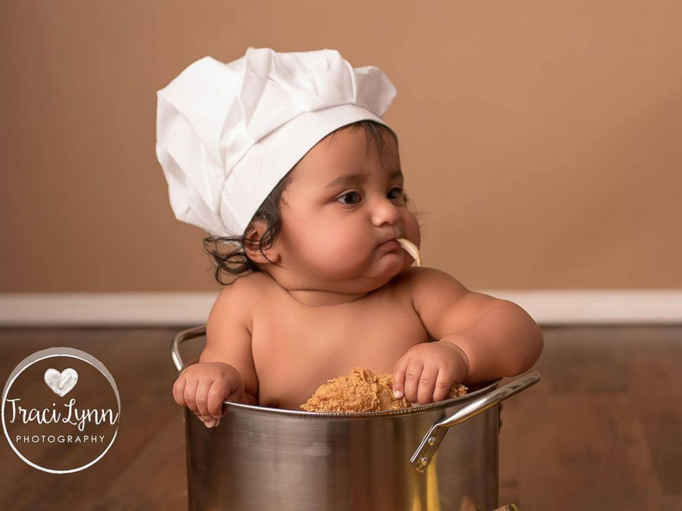 PHOTO: 8-month old Johnny Garcia had a foodie-themed photo shoot to celebrate his love of food.