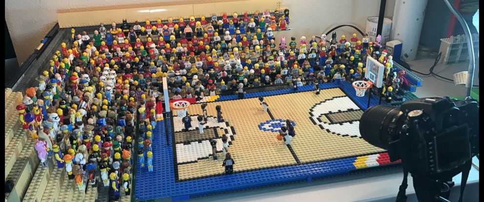 PHOTO: Jared Jacobs, of Boise, Idaho, built a stop-motion recreation of the 2016 March Madness championship game.