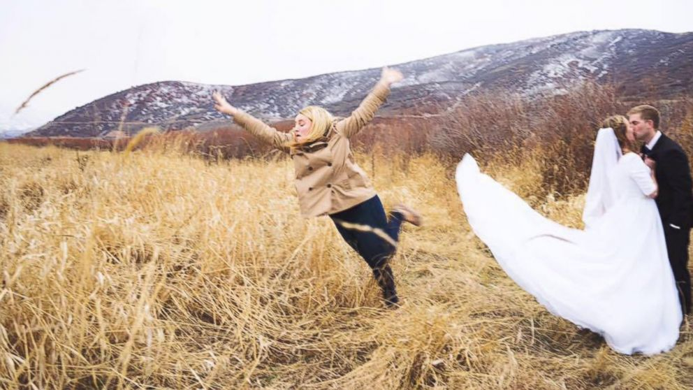 Janessa James proved she's the best bridesmaid by jumping out of her friends bridal photo, taken in Utah.