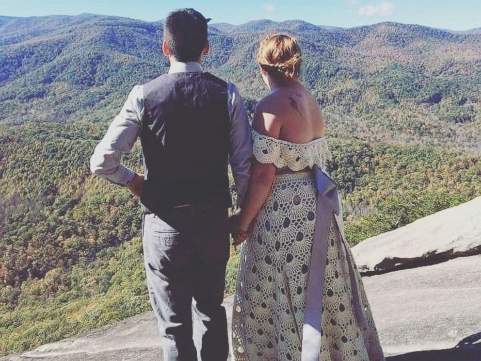 PHOTO: Bride Clara Orland hand-crocheted her dress to get married on top Looking Glass Rock in North Carolina.