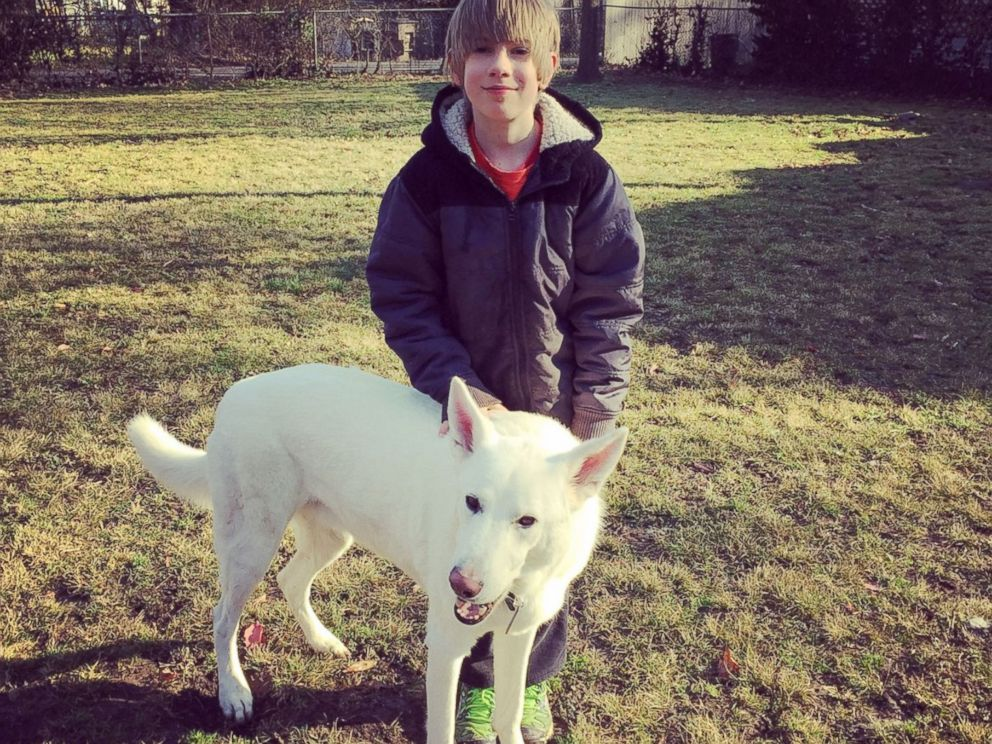 Tearful reunion between a boy and his neighbor's dog after a