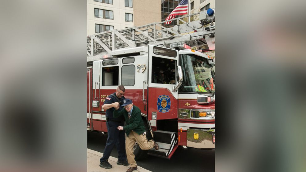Bill Grun, of Doylestown, Pennsylvania, got to ride in the fire truck and sound the siren.
