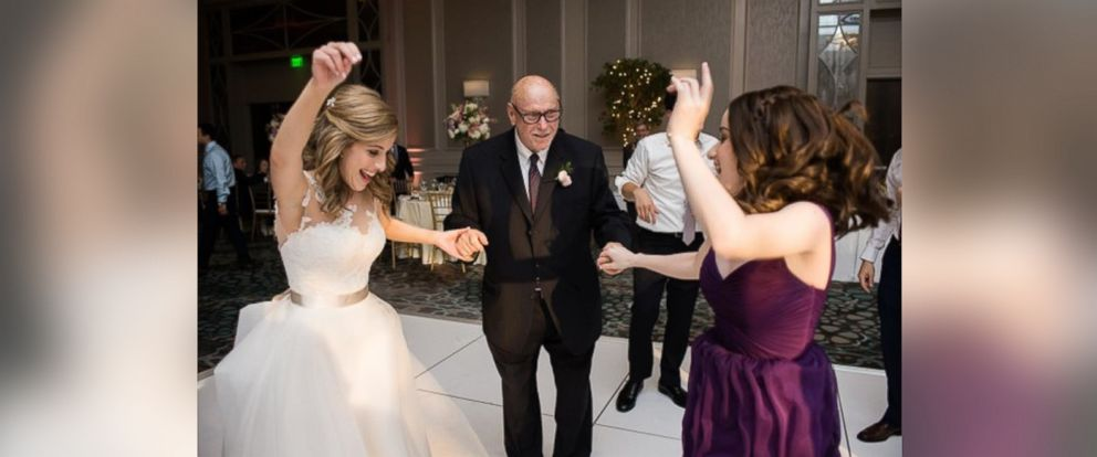 """PHOTO: Jennifers grandfather, Stanley, 85, surprised wedding guests when he served as the ceremonys """"flower grandpa."""""""