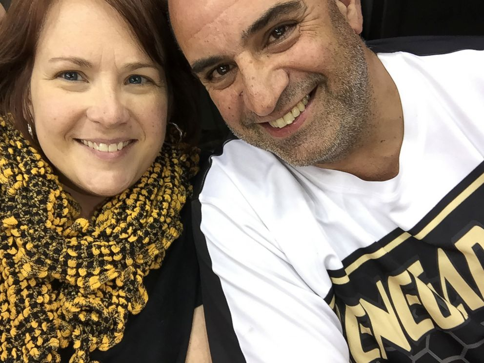 PHOTO: Amy and Mike Santora of Pittsburgh, Pa, received two free tickets to the Pittsburgh Penguins hockey game versus the National Predators on May 31, from a complete stranger who accidentally texted Amy Santora.