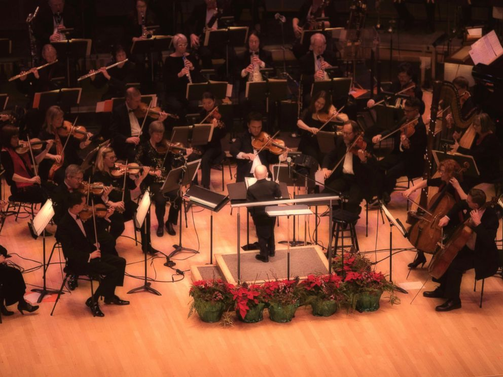 PHOTO: Jordan Cartwright, a 7-year-old boy battling leukemia, fulfilled his dream of conducting an orchestra on Dec. 19, 2016, when he got to conduct the Edmonton Symphony Orchestra at the Francis Winspear Centre for Music in Edmonton, Alberta, Canada.