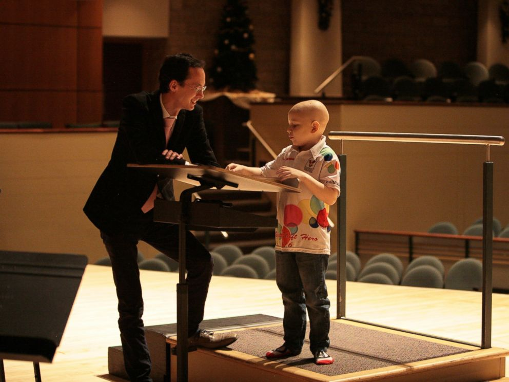 PHOTO: Jordan Cartwright, a 7-year-old boy battling leukemia, fulfilled his dream of conducting an orchestra on Dec. 19, 2016, when he got to conduct the Edmonton Symphony Orchestra at the Francis Winspear Center for Music in Edmonton, Alberta, Canada.