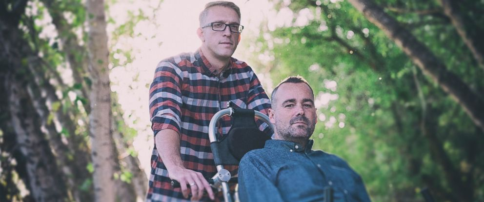 "PHOTO: Justin Skeesuck, who is diagnosed with Multifocal Acquired Motor Axonopathy, and Patrick Gray traveled 500 miles across Spain in 2014. The two wrote about it in a book, ""Ill Push You, out June 2017."