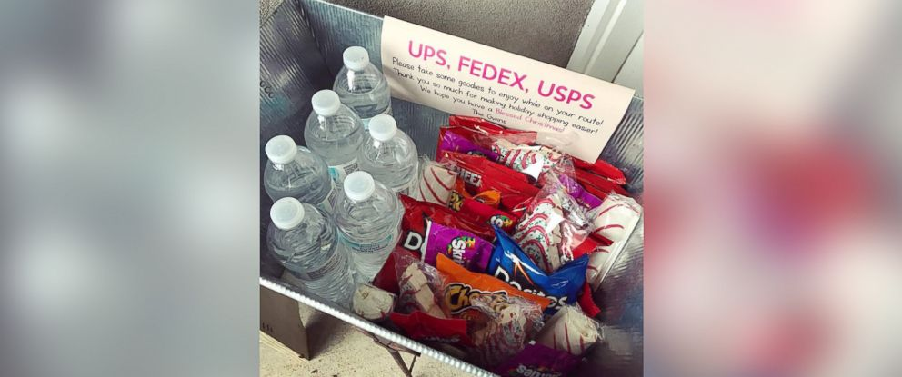 PHOTO: Lisa Gwin has inspired many online to put baskets of goodies on their doorstep for delivery men and women during this holiday season.