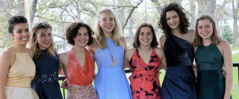 PHOTO: Maggie McGlenn, a junior at Madison East High School in Wisconsin, created homemade prom dresses for herself and six friends.