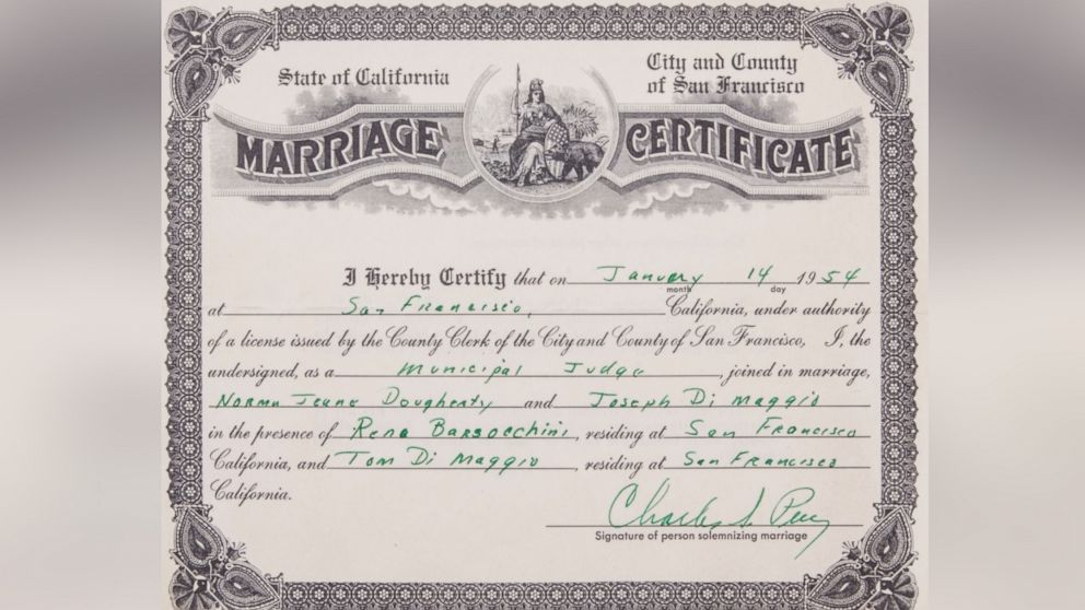 Marilyn Monroe Joe Dimaggios 1954 Marriage Certificate Sells For