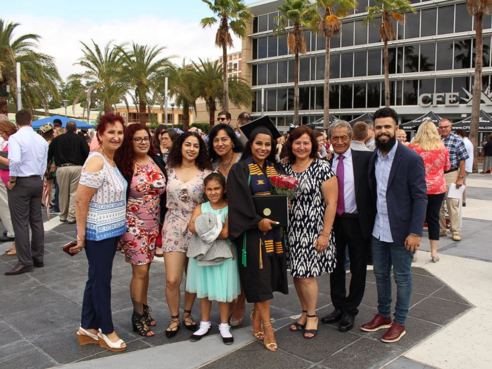 PHOTO: Melanie Sanchez, a 2017 graduate of University of Central Florida, with her family at the schools graduation on May 5, 2017.