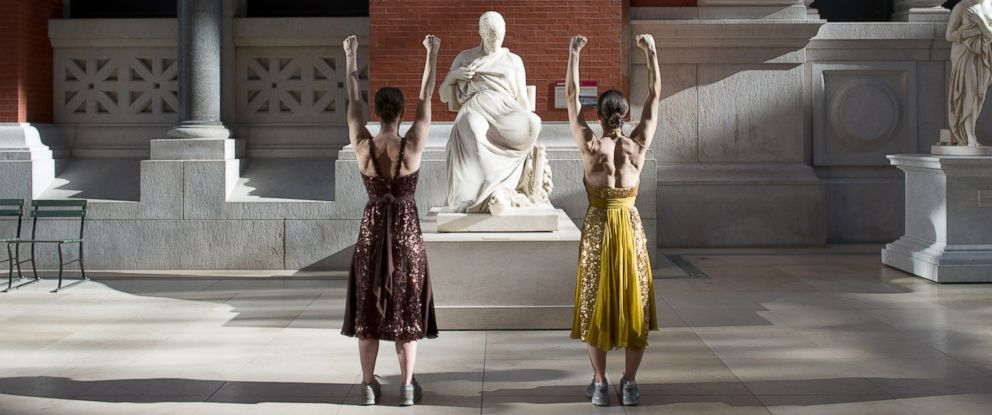 "PHOTO: Dancers Monica Bill Barnes and Anna Bass choreographed the ""Museum Workout,"" seen here."