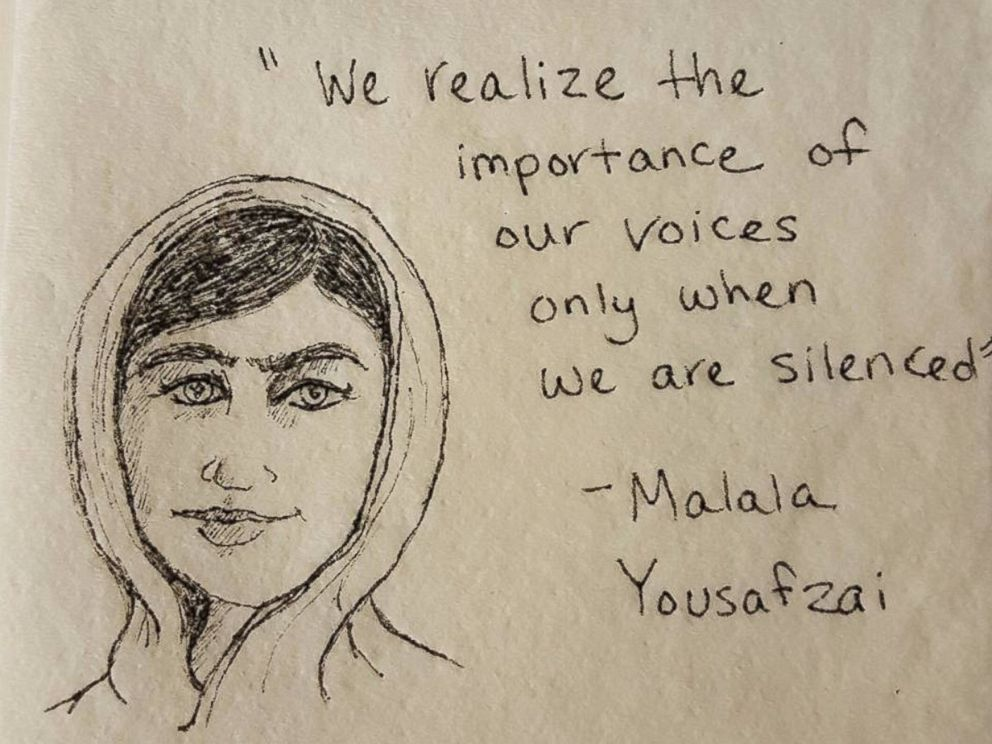PHOTO: Meaghan Elderkin draws art on her daughters napkins with quotes from inspirational women to empower her.