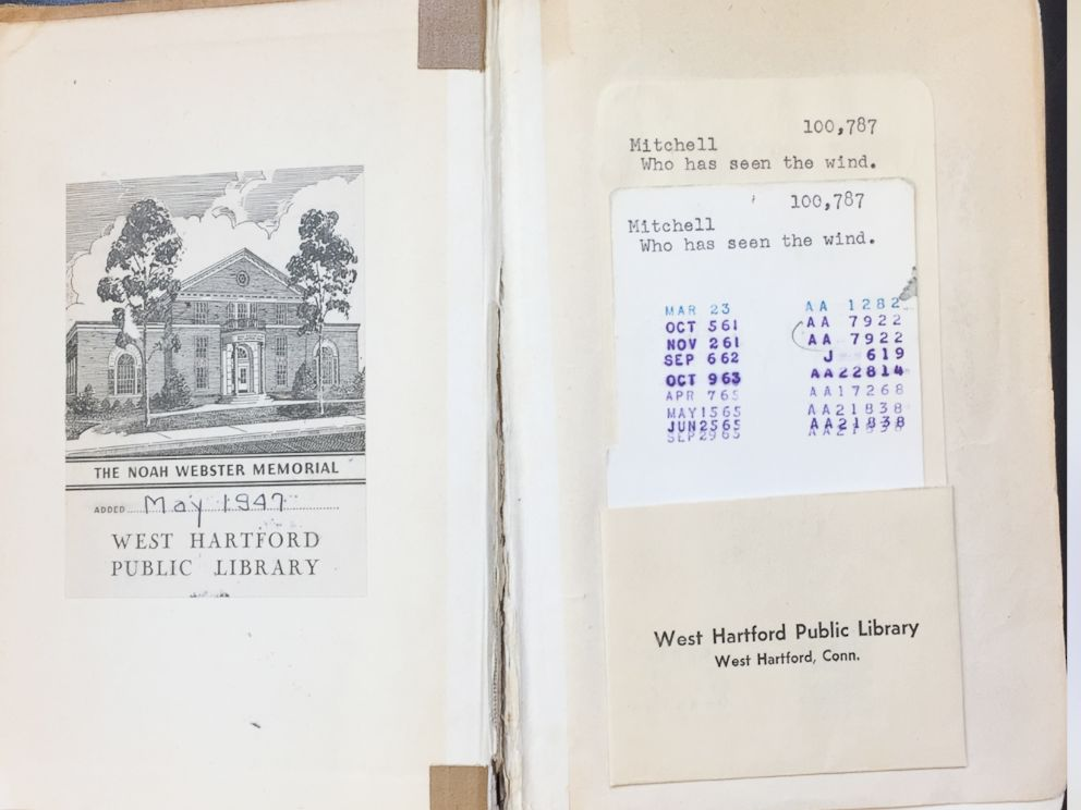PHOTO: The book Who Has Seen The Wind by W.O. Mitchell was due back to Noah Webster Library in West Hartford, Conn., on Sept. 29, 1965.