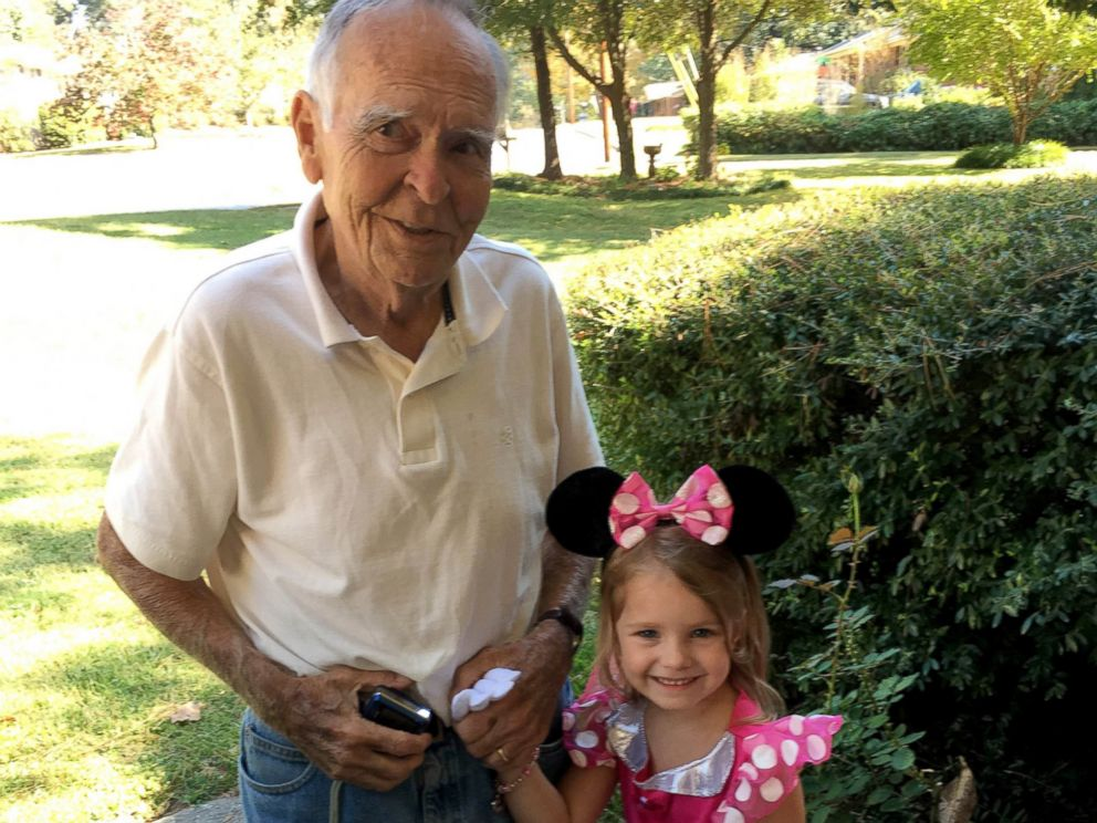 PHOTO: Norah visited her best friend, Mr. Dan, for Halloween dressed in a Minnie Mouse costume.