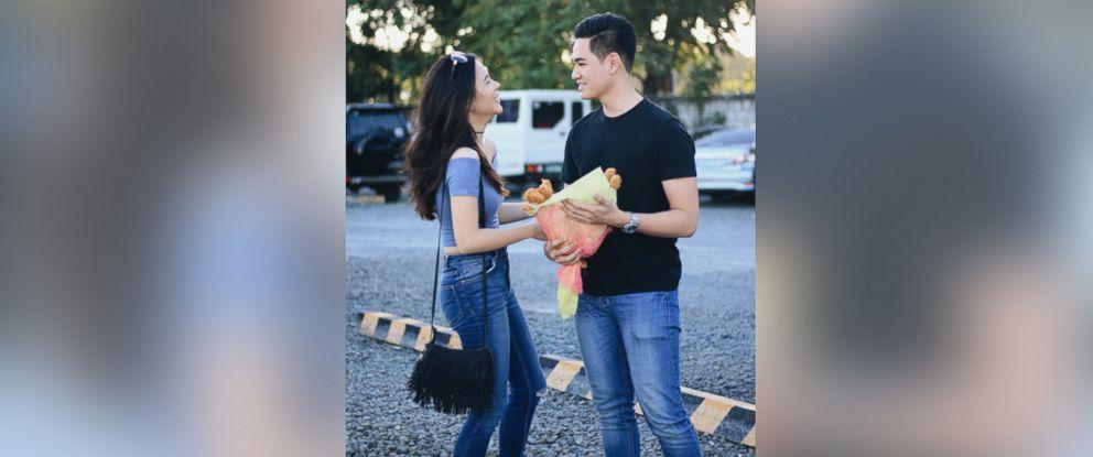 PHOTO: Rico Villanueva, 19, gave his girlfriend Annika Aguinaldo, 19, a bouquet of chicken nuggets because she hates flowers.