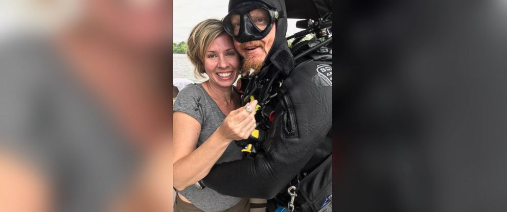 PHOTO: Spencer Phillips of Southern Skin Divers Supply helped a devastated Brooke Leavins find her engagement ring lost in Alabamas Coosa River.